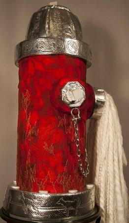 Detail of mixed media fire hydrant art