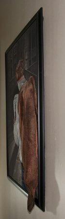 Side view of mixed media art